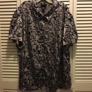 """""""Satin"""" and velvet short sleeved blouse"""
